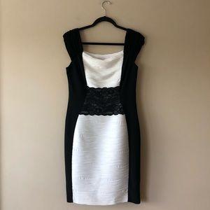 Joseph Ribkoff black and white colorblock dress